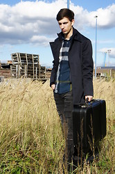 Christophe B. - Matinique Contrams Coat, Burberry Check Flannel Shirt, Current Elliott Distressed Jeans, Balmain Boots - The Lonely Traveler
