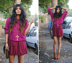 Kavita D - Nowistyle Burgundy Knit, Glamorousuk Burgundy Playsuit, Eclectic Eccentricity Cross Necklace, Jeffrey Campbell Litas, Proenza Schouler Lookalike Satchel - Autumn Falls.
