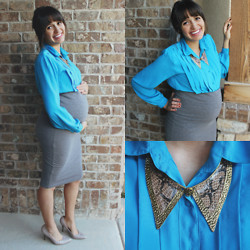 Cecilia H - Forever 21 Body Con Skirt, Vintage Blue Pleated Blouse, Chicnova Snakeskin Collar Necklace, Nude Heels - Maternity Series >> 33 weeks