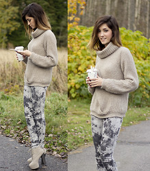 Maria L. - Sisley Jumper, Pieces Jeggings, Nelly Lita Look A Likes - Chunky heels and big knits