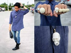 Ron Ramiro - Skull Necklace, Mogul White Spike Ring, White Enamel Cocktail Ring, Skull Ring, Os Accessories Knuckle Ring, Oversized Chambray Buttondown - DENIMology