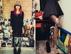 Lenne C. - Diy Comic Book Cap, Naked Eyes Black Stockings, Charles & Keith Black Suede Wedges - Naked + Comical