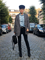 Anna W - Gift From My Grandfather Military Cap, Mango Coat, Topshop Wedge Boots, Proenza Schouler Ps1, Topshop Denim Shirt - The military cap