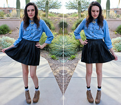 Allie Finch - Denim Shirt, Forever 21 Pleather Skirt, American Apparel Black Frill Socks, Forever 21 Cheetah Print Wedge Boots - Forever 21 as of October 6th