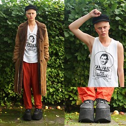 Christian Meltzer - Beyond Retro Hat, Vintage Coat, Vintage Tank Top, Vintage Trousers, Ebay Buffalo Tower Shoes - BLEACHED BROWS