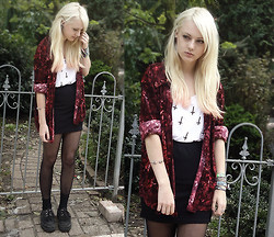 Lou A - Thrifted Velvet Blouse, Diy Crosses Shirt, Creepers, Ebay Skull Cuff - I'd like to capture this voice