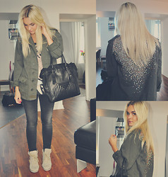 Natalie H - Topshop Army Jacket, Gina Tricot Denim, Jeffrey Campbell Sneaker Wedges, Zara Top, Zara Bag - The bling army.
