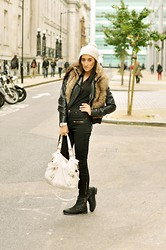 Gabriele Gzimailaite - Next Bag, Miss Selfridge Boots, Diesel Hat, H&M Gillet, Miss Selfridge Leather Jacket, River Island Jumper, Vero Moda Jeans, River Island Watch - Autumn is here