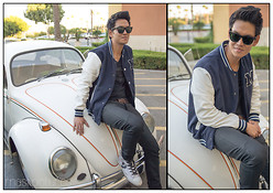 Bernard M - Vw Beetle Bug, John Varvatos Hi Top, H&M Letterman Jacket, Ray Ban Wafarer (Polarized) - I wanna be where You are!