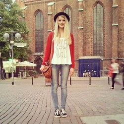 Samira Sophie - H&M Top, Primark Red Cardigan, Vans Old School, H&M Hat - I left because you never ask me to stay.