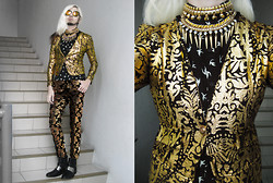 Andre Judd - Tnc Crumpled Gold Stamped Baroque Print Stretch Skinny Blazer, F&H Swallow Print Shirt, Brocade Trousers, Rajo X Milanos Silver Plated Boot, Tnc Gold Neckpieces - GOLD RUSH