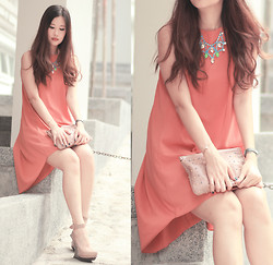 Mayo Wo - Laurustinus Chandelier Necklace, Covetz Tangerine Hi Lo Dress - Candy chandelier
