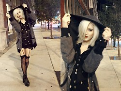 Rachel Lynch - Wildfox Couture Sleep Under The Stars Hoodie, The Scarlet Room Black Sheer Cross Top, Victoria's Secret Thigh Highs, Jeffrey Campbell Big Lita - Throw a h00d on it