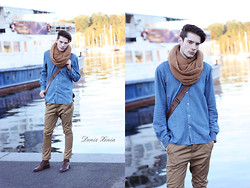 ChriS F. - Friis & Company Scarf, Humör Pants, Jack And Jones Jeansshirt - Beamer, Benz or Scarf?