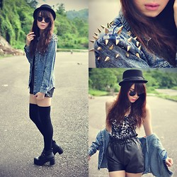 Tess Lively - Motel Rocks Bodysuit, Studded Wash Denim - Rock Ya Day