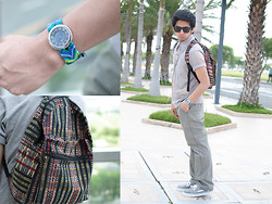 Reyner Cadapan - Ray Ban Black Wayfarer Sunglasses, From My Mom Aztec Backpack, Diamondhill Blue Handmade Band Watch, Element Striped Pants, Eco Unltd. Gray Topsider, Thrift Store Gray Poloshirt - PRISM