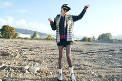 †Norelle Rheingold† - Diy Baseball Cap, Levi's® Zip Hoody, H&M Sunglasses, Diy Studded Flannel Vest, Demonia Creepers - My Heart will never Feel