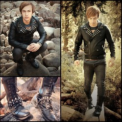 Marvin Zander Lainez - Obey Bastards Studded Jacket, Obey T Shirt, Ebay Studded Bracelet, Lip Service Skinny Jeans, Bed Stu Vintage Military Combat Boots, Ebay Boot Strap Harness With Bullets And Studs - Obey Punks