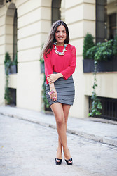 Paula Ordovás - Sandro Blouse, Bcbg Skirt, Christian Louboutin Shoes, Mawi Collar - Muïc Lover