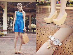 Tricia Gosingtian - Forever 21 Necklace, Just G Dress, Bagfull Bag, Asianvogue Wedges, Charriol St. Tropez Watch, Mia Casa Bracelet - 100812