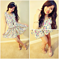 Maricris Lucero - Forever 21 Pastel Strap Platform Heels, Charm Bracelet, Forever 21 Bow Headband, Pink And Blue Polkadots Dress - May I have this dance?
