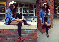 Samantha San Antonio - H&M White Beanie, Pacsun Black Tee, Mama's Closet Chambray Shirt, Half Destroyed Tights, Oxfords, Forever 21 Knee High Socks, Black High Waisted Shorts, Spiked Bangle - They're all ghosts with just voices.