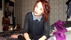 Holly Marie Halliwell - Dorothy Perkins Glittery Jumper, New Look Denim Shirt - Is that you in the photograph.