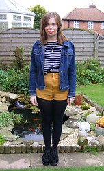 Abbie P - Topshop Shorts - Mustard, Stripes & Denim