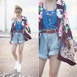 Willabelle Ong - Floral Blazer, Oversized Denim Shorts, Converse Thick Soled Converse Esque Flatforms - Messy bun