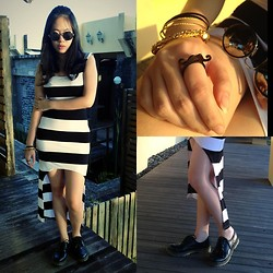 Lynette J. - Romwe Rounded Sunglasses, High Low Bodycon Dress, Dr. Martens Boots, Moustache Ring, Bangles - Tic Tac Toe