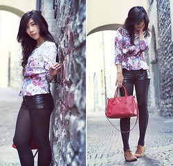 Winnie Isk - H&M Printed Peplum, Leather Shorts, Prada Red Saffiano - Printed + leather.