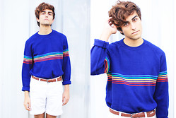 Austin Sullivan - Vintage Rainbow Sweater, Vintage Brown Braided Belt, Urban Outfitters White Shorts - R A I N B O W