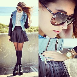 Danielle DeHardt - Denim & Leather Jacket, Reverse Cross Blouse, Urban Outfitters Stockings, Jeffrey Campbell Vitas, Michael Kors Sunnies, Michael Kors Watch, Natasha Spike Bracelets, Forever 21 Pleated Pleather Skirt - Un, Deux, Go.
