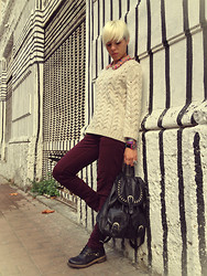 Marta Chic - Appletree Boutique Printed Blouse, Zara Jumper, H&M Burgundy Pants, Kammi Boots - Striped wall and Burgundy