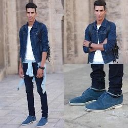 Karim Ben zhinger - Levi's® Levis Denim Jacket , Levis , In Levi's Denim Outerwear, Acne Studios T Shirt , , In Shirts, American Apparel Denim Shirt , , In Shirts, Acne Studios Jeans , , In Denim Jeans, Urban Outfitters Shoes Via Urbanoutfitters ,, Cos Bag , In Bags -   we are the next ones to come