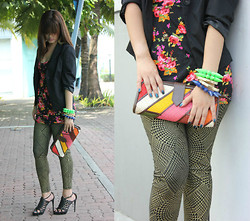 Perch Arenas - Bicol, Philippinnes Native Clutch, Spike Neon - Print over print
