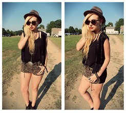 Nicole Alyse - Black Tank, Tripp Leopard Shorts, Karen Walker Sunnies, Vintage Vest - Country bound.