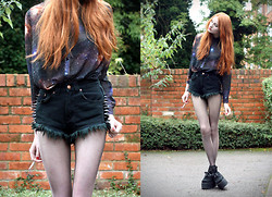 Olivia Emily - Sheer Galaxy Shirt, Roxy Shorts, Underground Triple Creepers - Space Oddity.