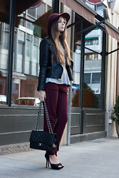 Anastasia Shev - H&M Capeline, Zara Jacket, T Shirt, Topshop Trousers, Chanel 2.55 Bag, Zara Heels - Leather and wine.