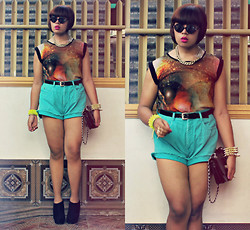 Miki Gumia - Topshop Top, Diy Shorts, Parisian Bag, Forever 21 Shoes - Star dust