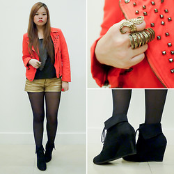 Raizelle So - Forever 21 Gold Shorts, New Look Black Boots - Rockin' Red