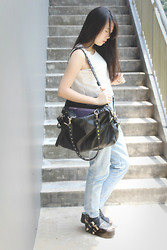 Naomi Tham - City Plaza Lace Leather Crop Top - First day back to school