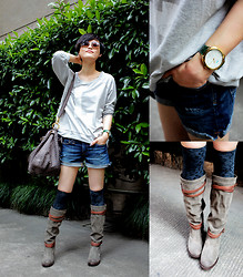 Wolfie Chen - La Mer Collections Vintage Oversized Watch, The Frye Company Boots - Miss Naughty