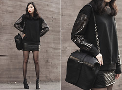 Lan Choi - Artfit Fahett Studded Sleeves Sweat Top, Artfit Pompo Leather Quilted Mini Skirt, Artfit Mendes Lace Up Ankle Boot, Artfit Soder Chain Bucket Bag - Twinkle black: Stud sweat top,Quilted leather skirt - ARTFIT
