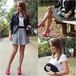 Helena Coelho - Zara Necklace, Primark Jacket, Zara Skirt, Bershka Shoes, Guess? Clutch - Pink Power
