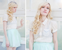 Catherine P - French Connection Uk Scalloped Shirt, Topshop Mint Organza Skirt - Lo-Lee-Ta
