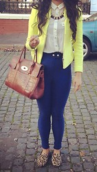 Husty Fuentes - Zara Necklace, Topshop Top, Zara Blazer/Jacket, Mulberry Bag, American Apparel Riding Pants - Hustyf on instagram (: