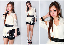 Angelina Zhi - Lace Chiffon Top, Heatwave Black High Heel - ·Black&White· never goes wrong (10.17.2012)