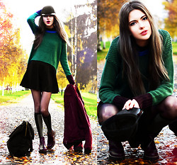 Ebba Zingmark - Sweater, Choies Skirt, Backpack, Romwe Jacket, Boots, Socks, Monki Cap - School Bells Are Ringing