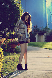 Racheli Azulay - Forever 21 Chiffon White Shirt, Steve Madden Statement Necklace, Zara Cardigan, H&M Black Shorts, Pull & Bear Black Lace Up Wedge Booties - Waiting by